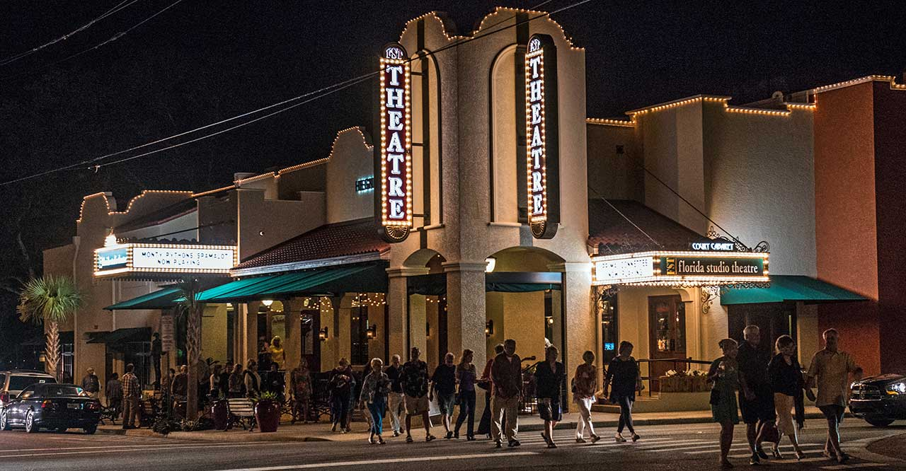 exterior of the sarasota theater at night