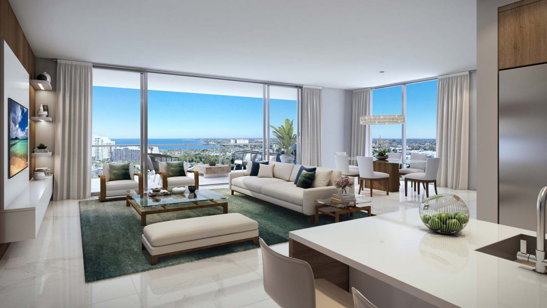 interior rendering of the bayso residence E great room