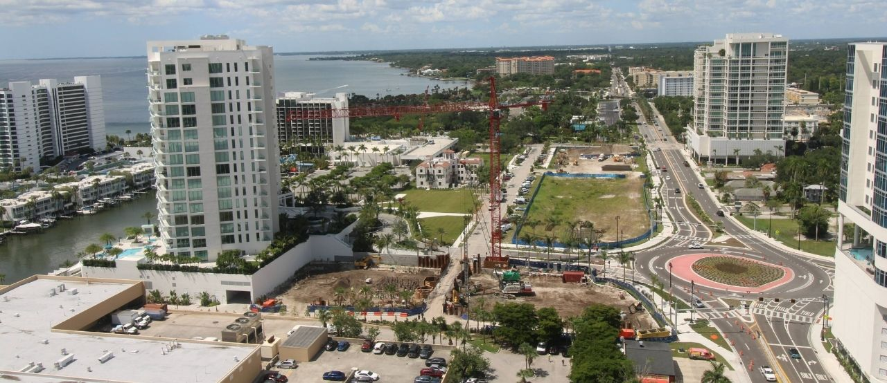 aerial image of the construction site of bayso sarasota